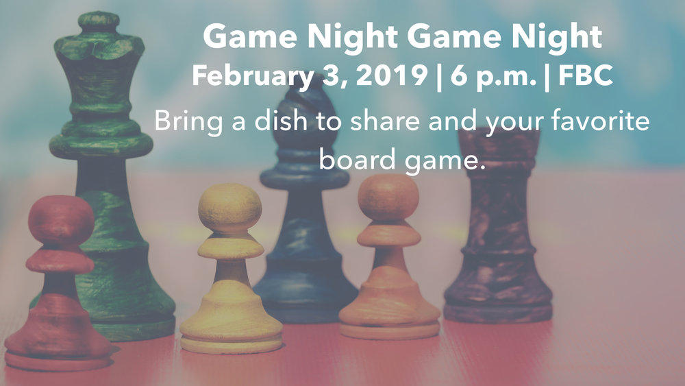 Join us for a night of fellowship, food, and fun! In lieu of our normal Sunday evening service we'll be eating and playing board games in the Fellowship Hall. Bring a dish and your favorite board game! We'll also celebrate the work our youth ministry has done raising funds for international mission over the past year.
