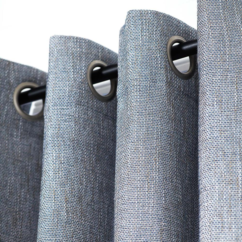 Nice Blue Linen Blend Tweed Window Curtain