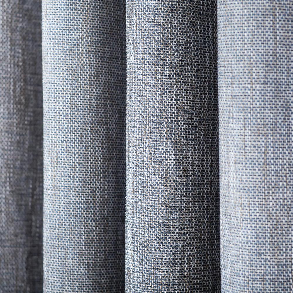 Blue Linen Blend Tweed Window Curtain