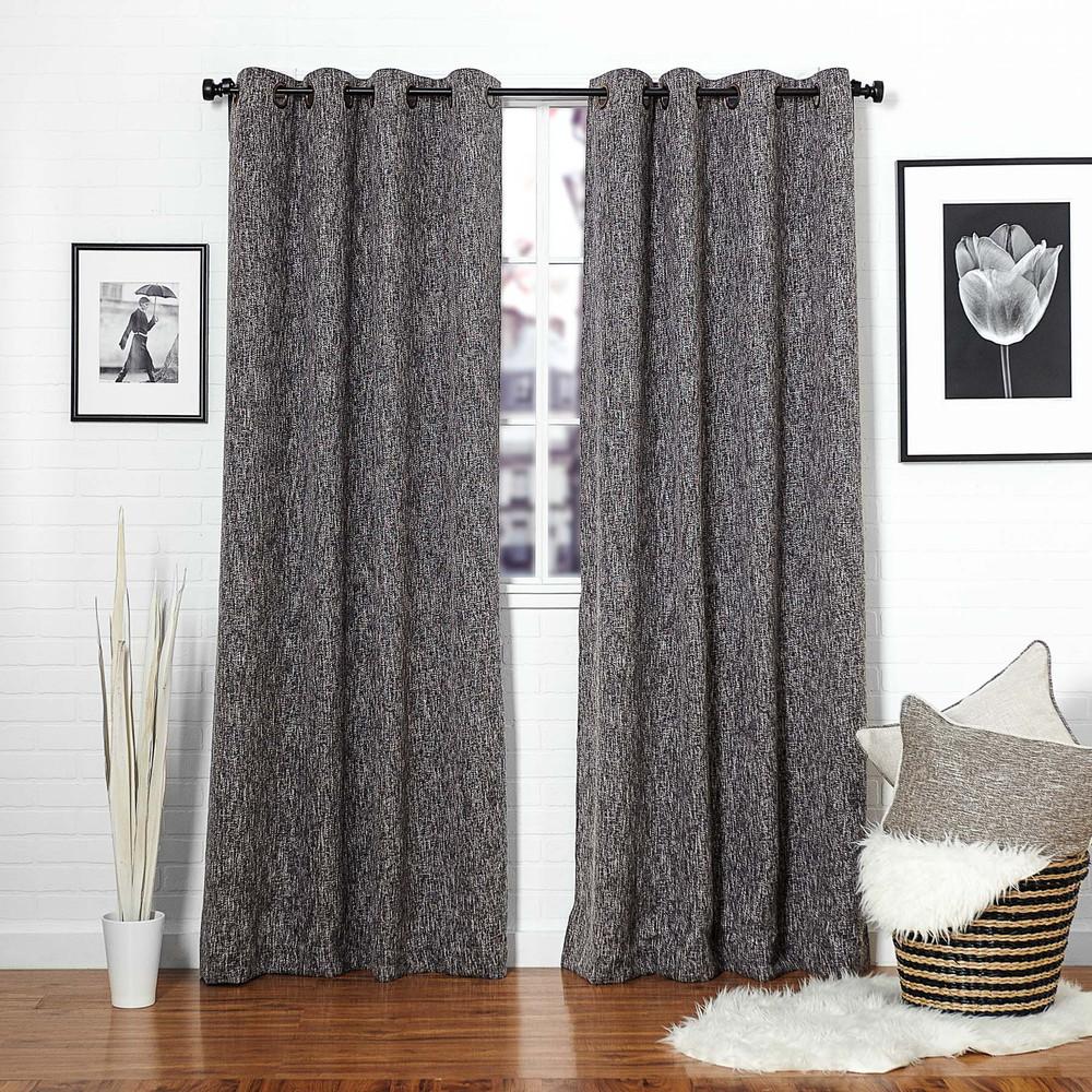 Beautiful Black Linen Blend Tweed Window Curtain