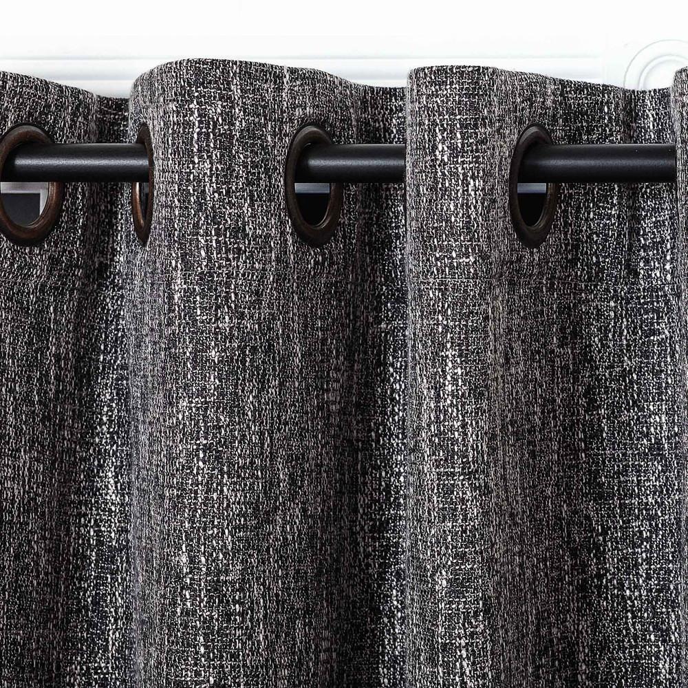 Good Black Linen Blend Tweed Window Curtain