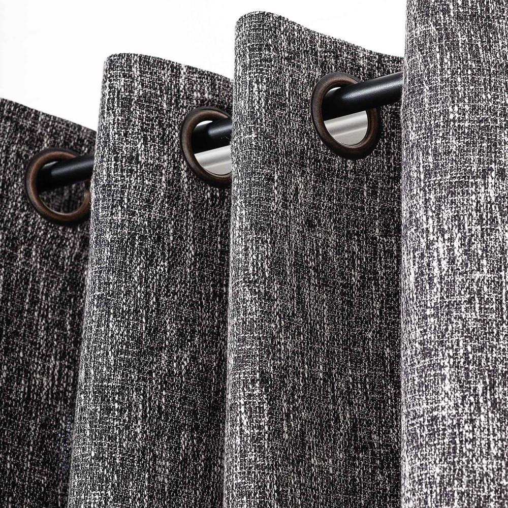 Black Linen Blend Tweed Window Curtain