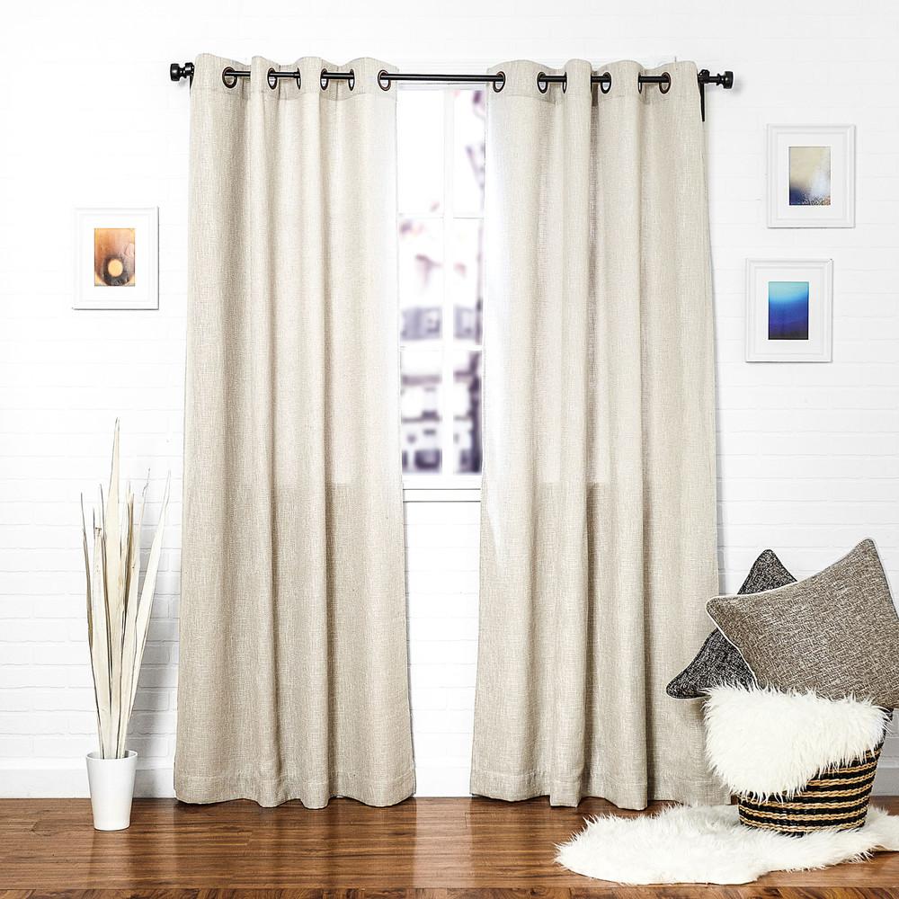 Linen window treatments - Beige Linen Blend Tweed Window Curtain