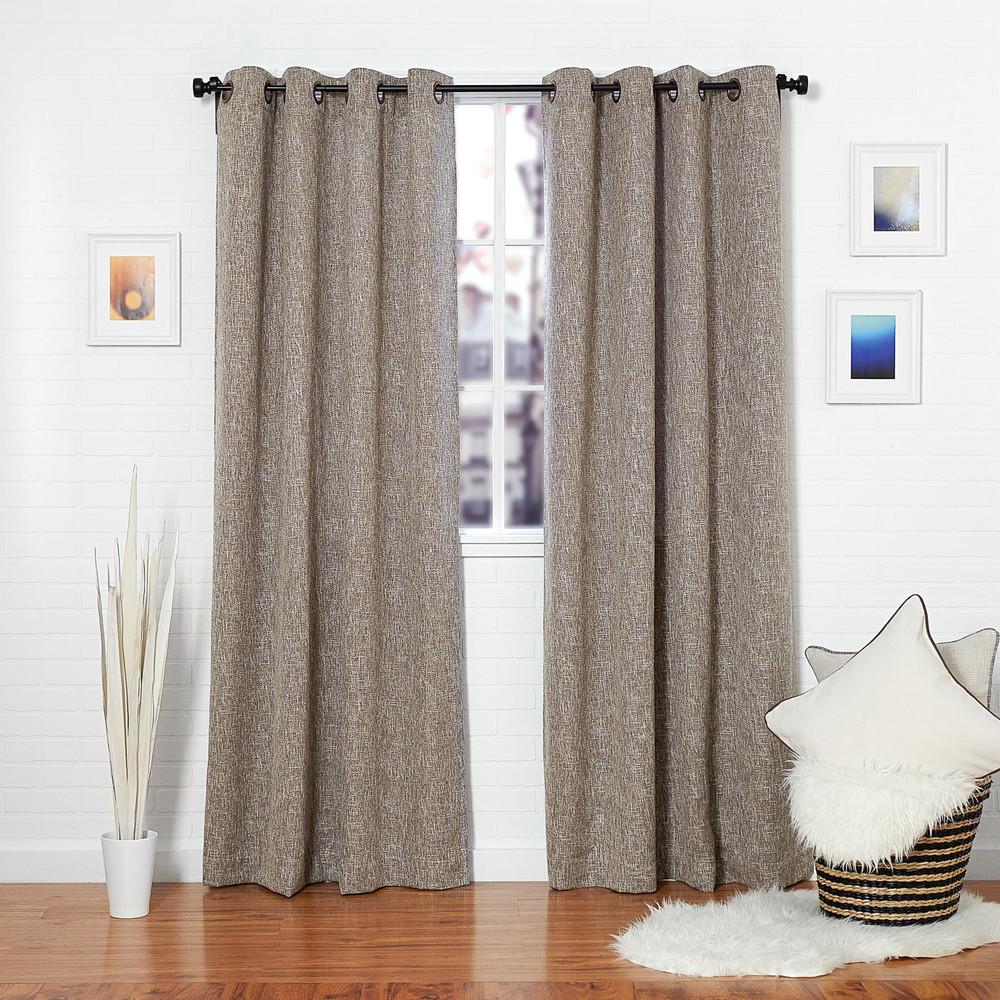 Brown Linen Blend Tweed Window Curtain