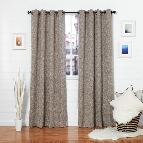 Curtains Ideas brown linen curtains : Brown Linen Blend Tweed Window Curtain — Homier