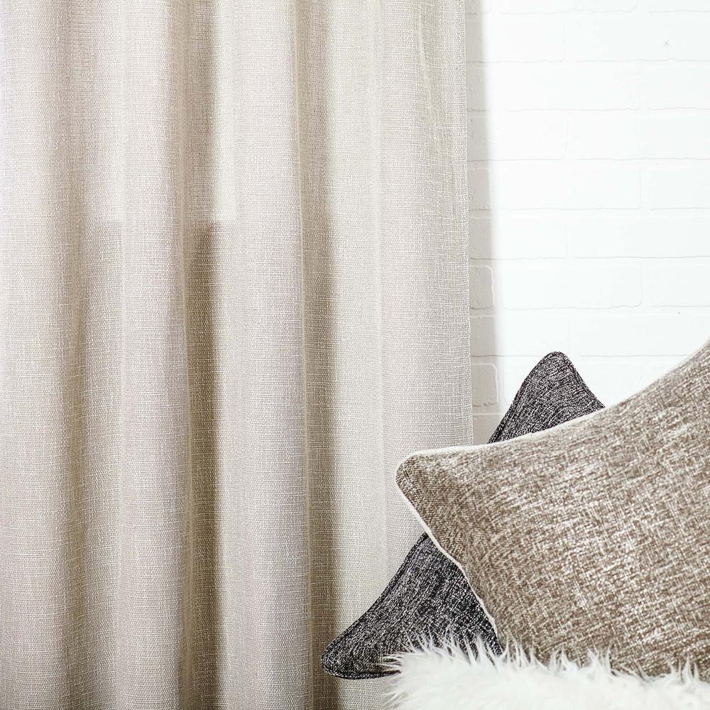 Beige Linen Blend Tweed Window Curtain