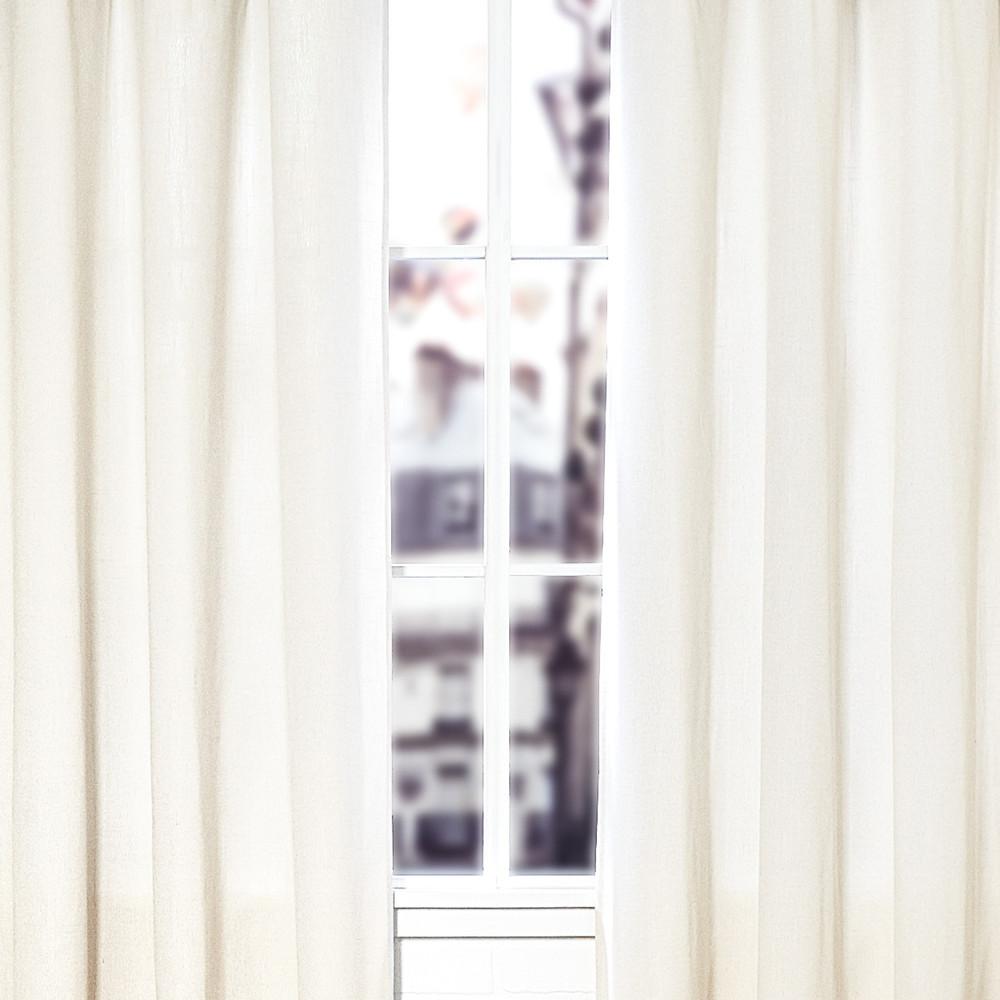 White window curtains - White Linen Blend Canvas Window Curtain