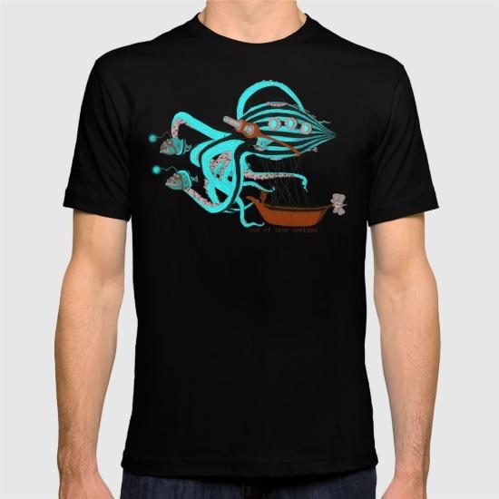 Tshirt Design - Graphic Tee - Cartoon Steampunk Octopus