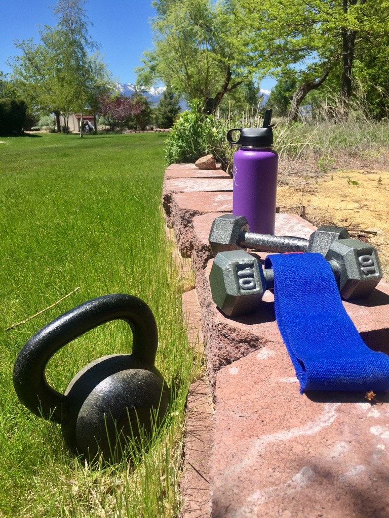 40 lb kettlebell, Slingshot band and (2) 10 lb dumbbells. Brought me to my knees.
