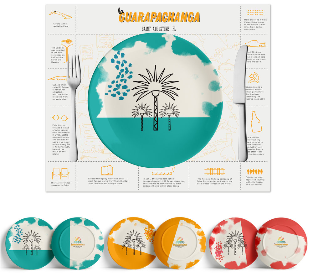 Plate design is meant to break the grid found in the menu and mat, it is a splash of unexpected color and artistry