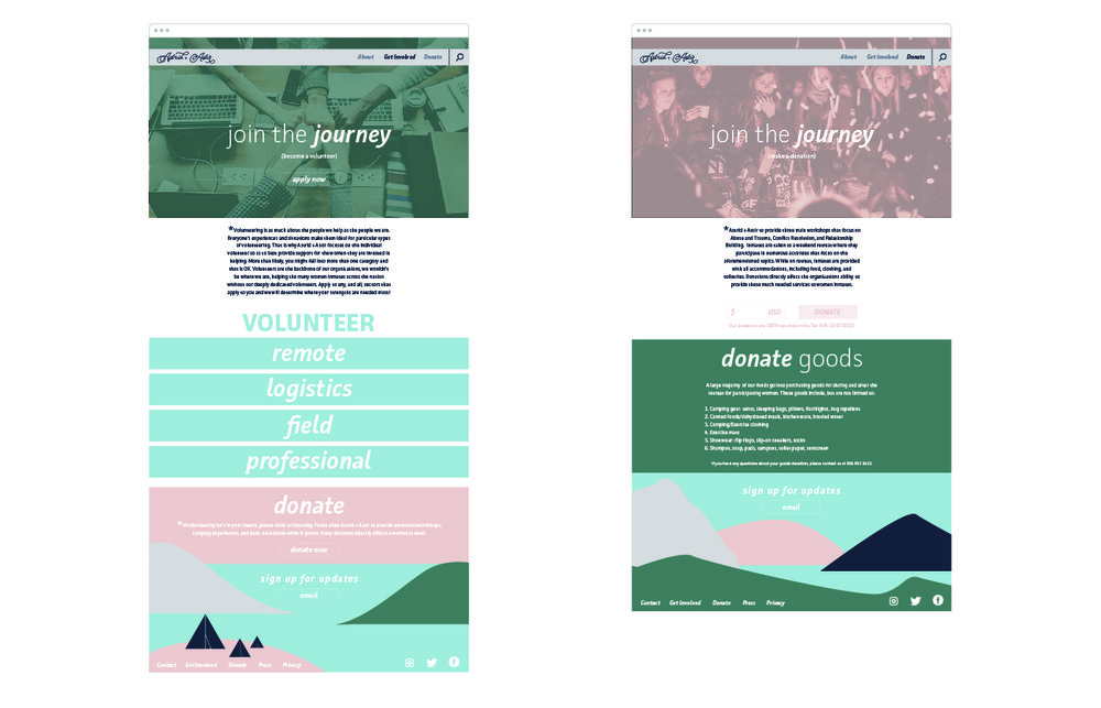Website screens