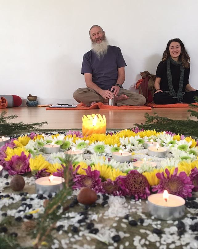 Kristen Volpone assisting her teacher Biff Mithoefer at a Yin Yoga training @ Kaia Yoga