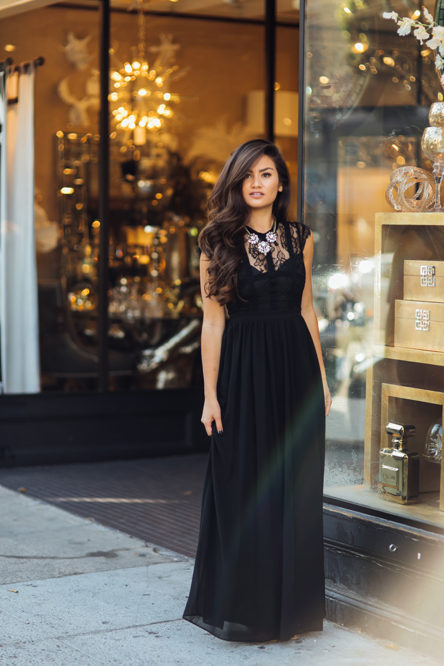 Caila Quinn 25th Birthday Black Morning Lavender Long Dress
