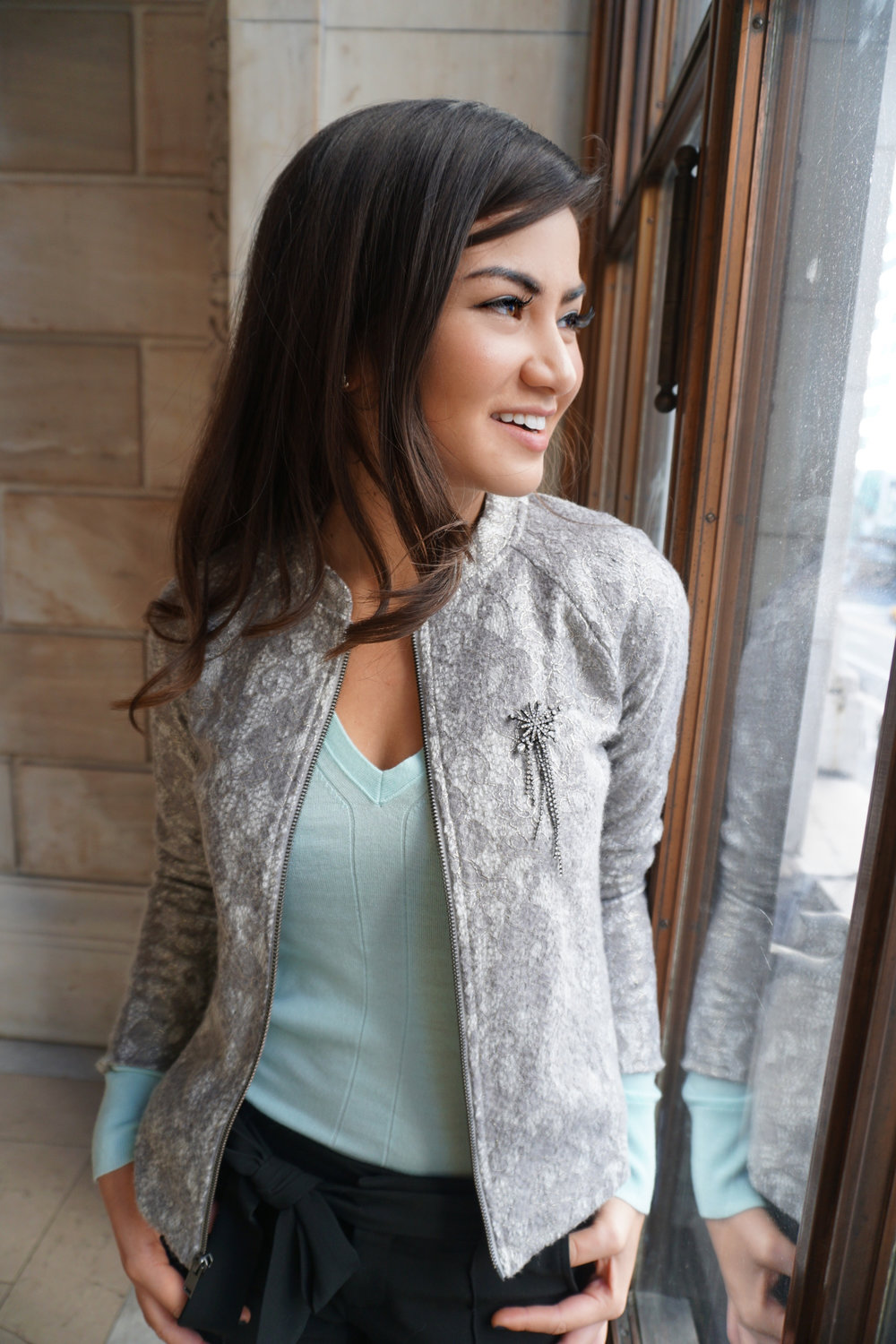 Banana Republic Mint Sweater and Bomber Caila Quinn