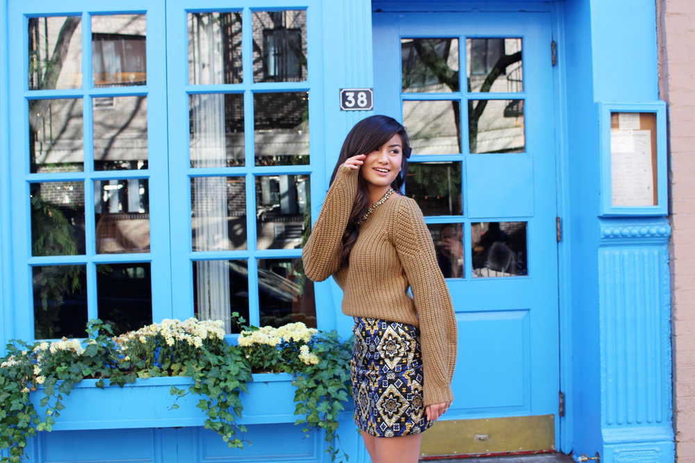 LOFT Cozy Sweater & Metallic Skirt with Caila Quinn
