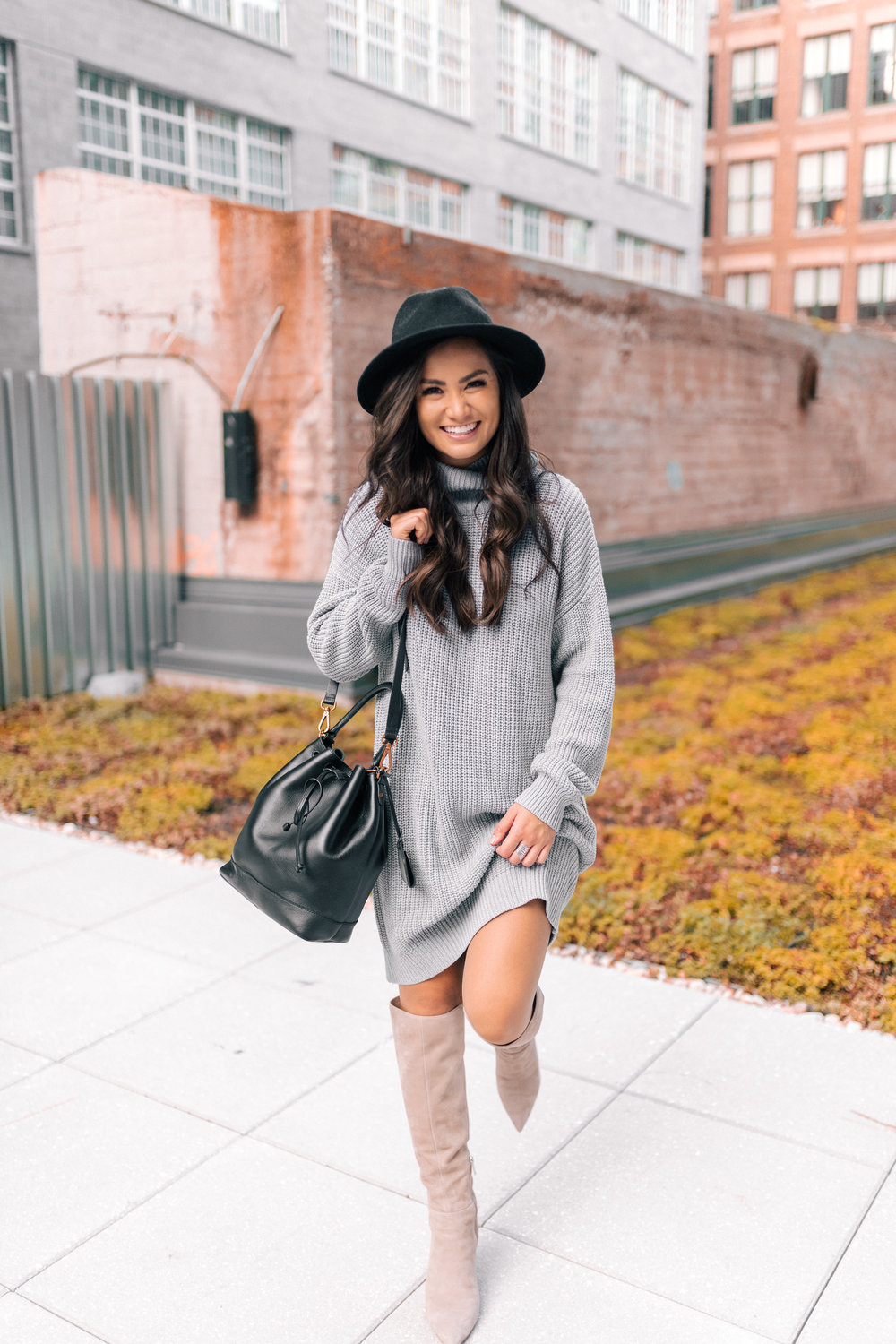 Caila Quinn Fall Fashion Gray Oversized Sweater Dress and high boots with  hat 1363c56dccb