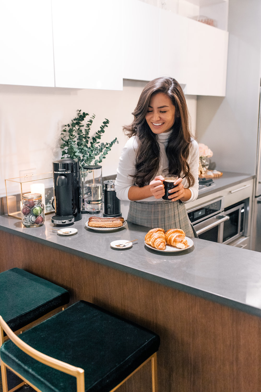 The Bachelor Caila Quinn and Sharleen Joynt enjoying Nespresso Coffee Machine a premium holiday gift in their New York City Kitchen