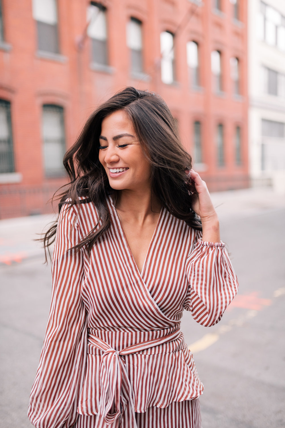 The Bachelor Halfie Caila Quinn Christmas Time Fashion Blogger for Stage Stores Striped Dress