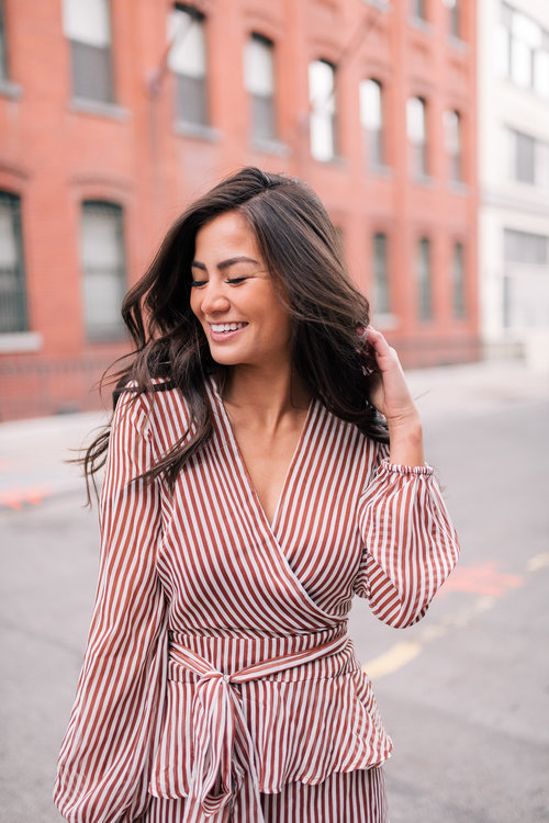578d6fe8021 The Bachelor Halfie Caila Quinn Christmas Time Fashion Blogger for Stage  Stores Striped Dress