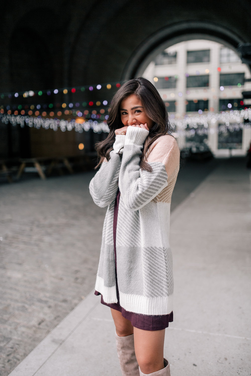 78836a3a3c1 The Bachelor Halfie Caila Quinn Christmas Time Fashion Blogger for Stage  Stores Maroon Sweater Dress and
