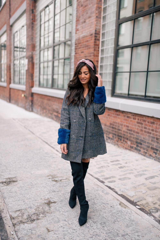 The Bachelor Halfie Caila Quinn Christmas Time Fashion Blogger for Stage Stores blue faux fur cuff boyfriend coat