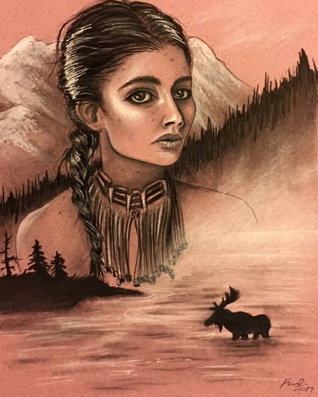 I figured if I am doing American landscapes, I should include some native american women, this is based off a photo of a shoshone woman