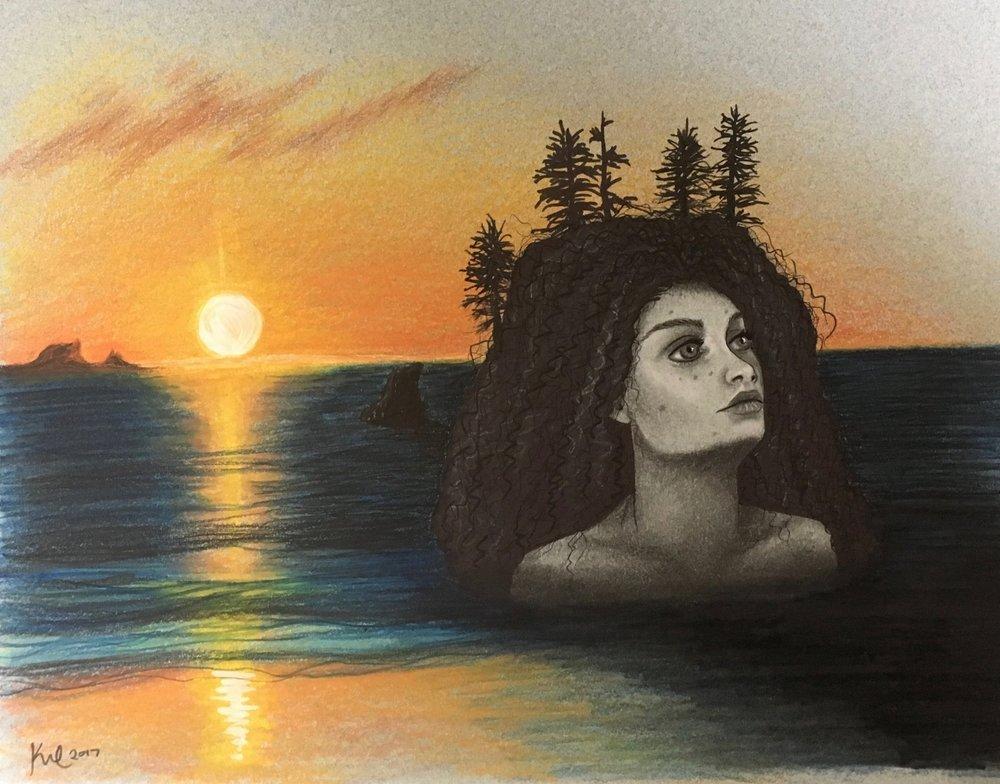 second beach woman illustration