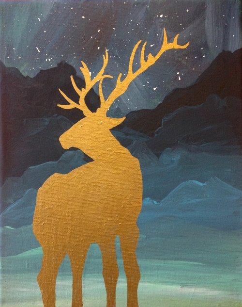 elk in gold