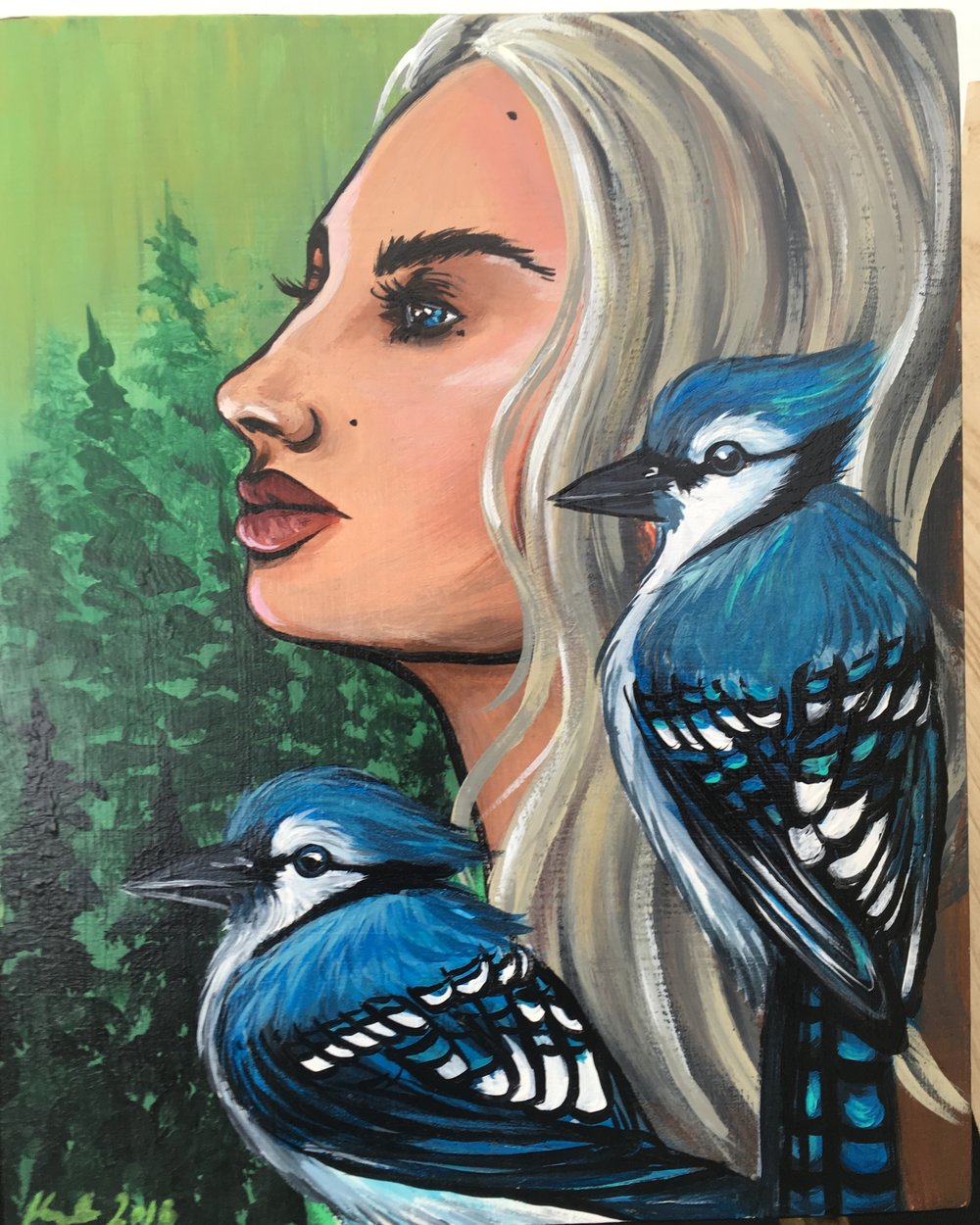 woman and bluejays