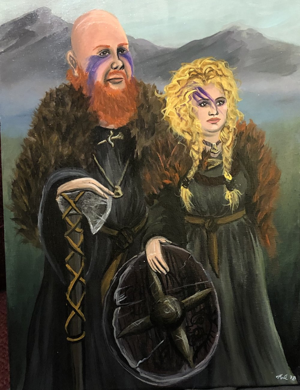 viking couple portrait commission