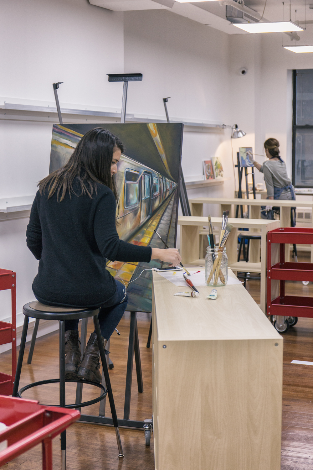 Artists painting in SmART Space Studios