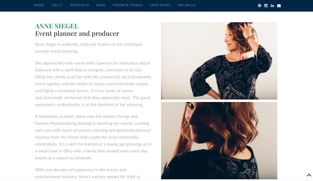 "The fun side of Anne's brand is really highlighted in the voice throughout her website, especially brought to life on her ""About"" page with the help of her unconventional headshots."