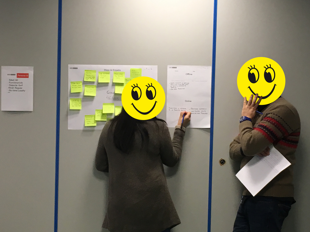 "Client:  Decathlon . Understanding our users. ""Empathy maps"" in group sessions. Madrid and Barcelona."