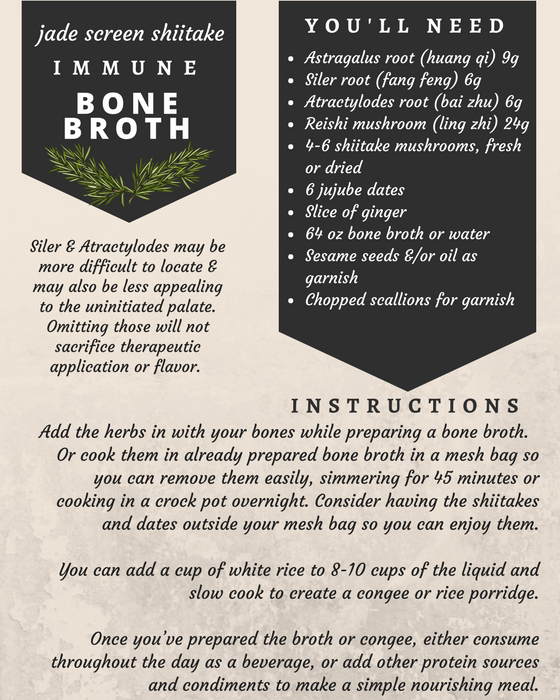 bone broth jade wind screen mushrooms recipe