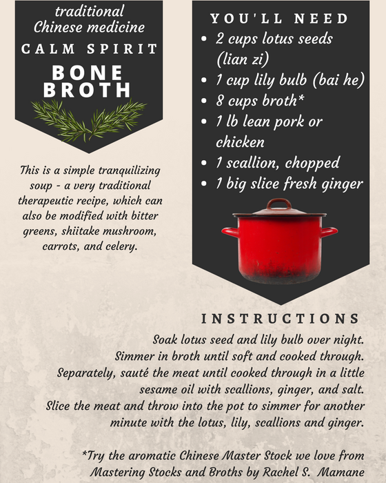 Chinese Calm Spirit Epic Bone Broth Recipe