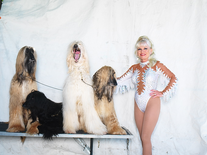 Susan and Davide Zoppe w afghan dogs, rhesus monkeys 0011