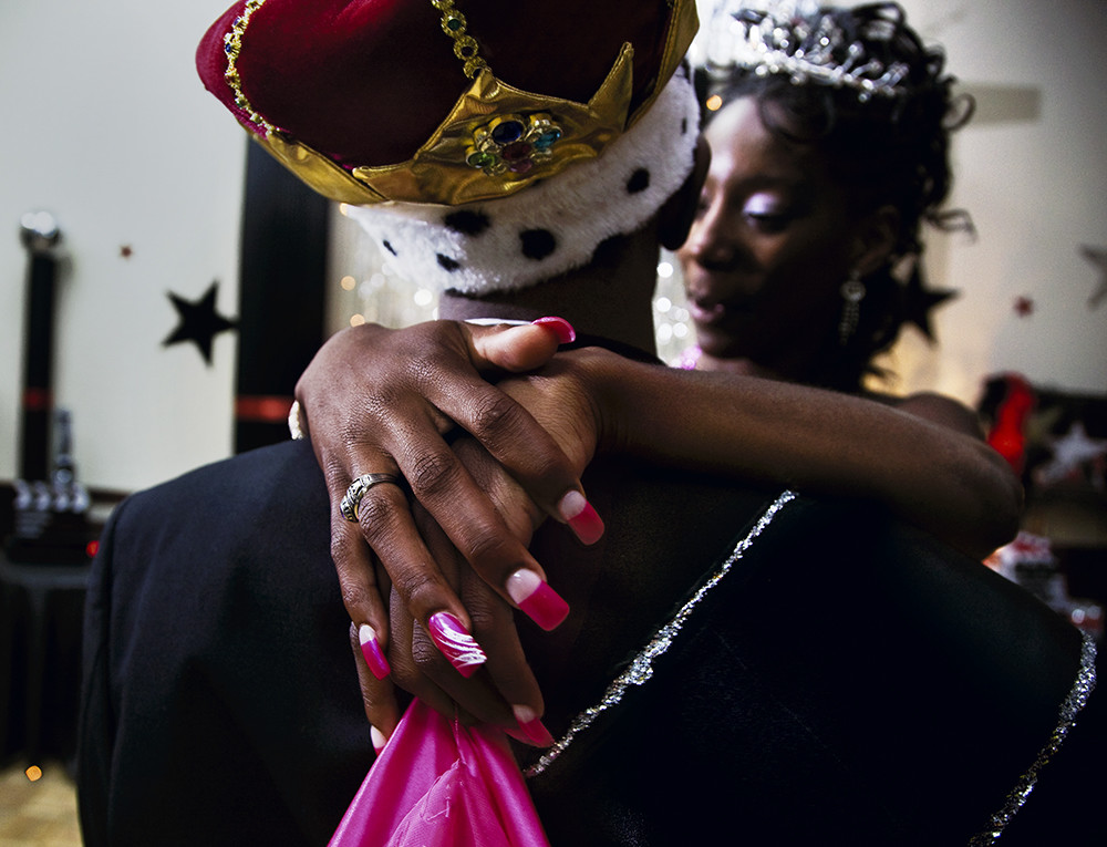 Niesha Bell and Khiry Wright, Prom Queen and King, Have Their First Dance at the Black Prom, Vidalia GA May 2, 2009