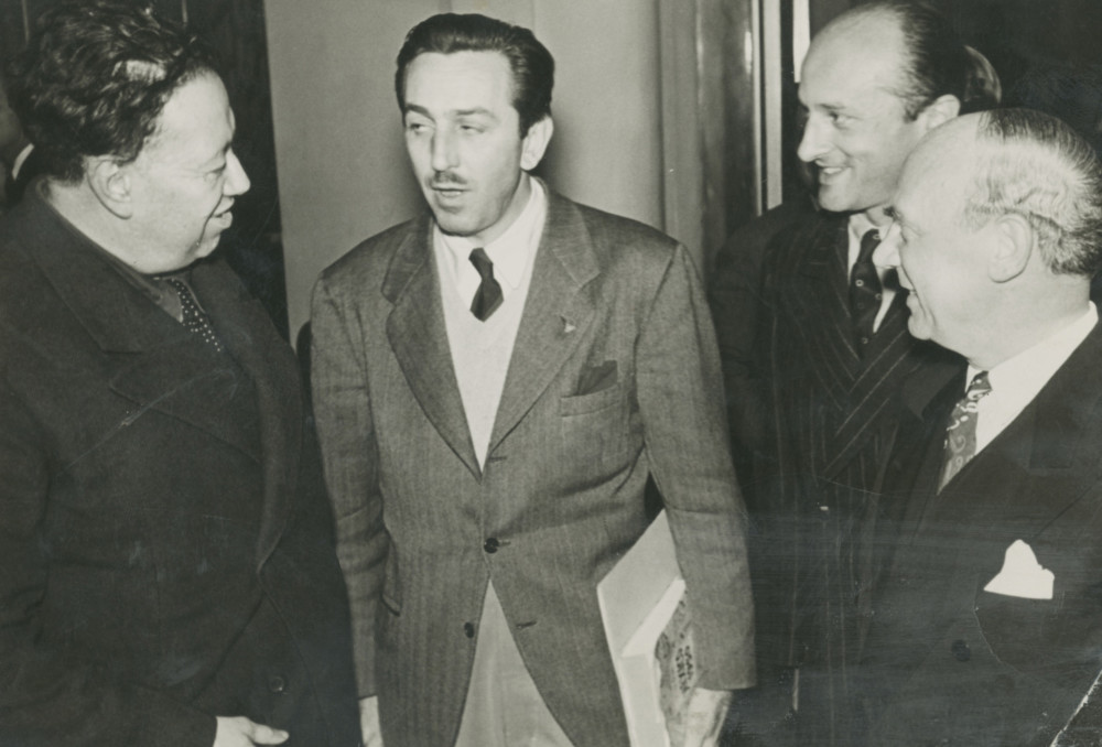 THROCKMORTON JUAN GUZMAN image of left-Diego Rivera and Walt Disney-center 1942 gelatin silver print 4.75x6