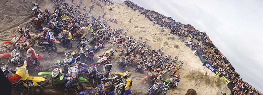 """L'Enduro du Touquet""; formerly a 3 hour race over the sand dunes of Le Touquet. The race ran from 1975-2005, the final year on the dunes prior to relocating for ecological reasons.  Le Touquet, France 2005."