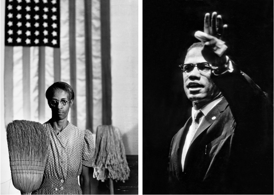CGordon Parks LeftAmerican Gothic Washington DC 1942 Right Malcom X At Rally Chicago Illinois 1963