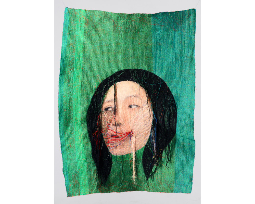 Rag face #14003, 2014 (front), 82 x 110 cm sewing on photo