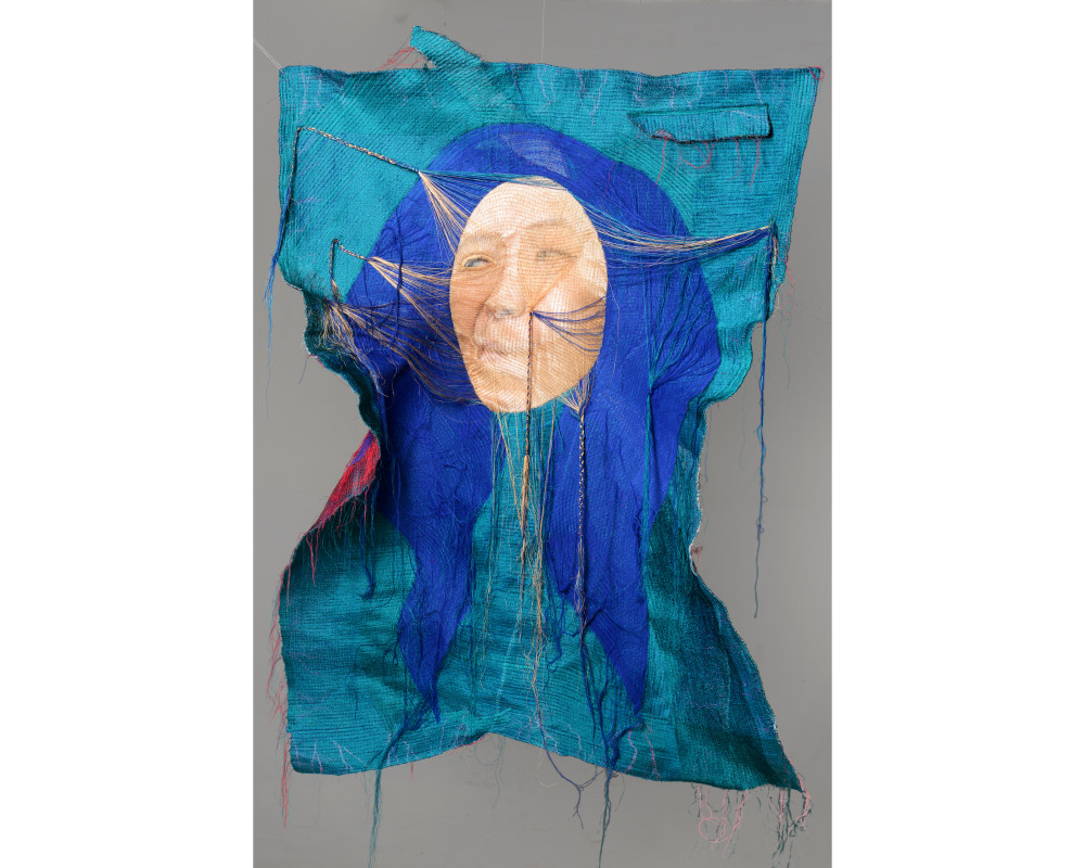 Rag face #15004, 2015 (front), 104 x135cm sewing on photo