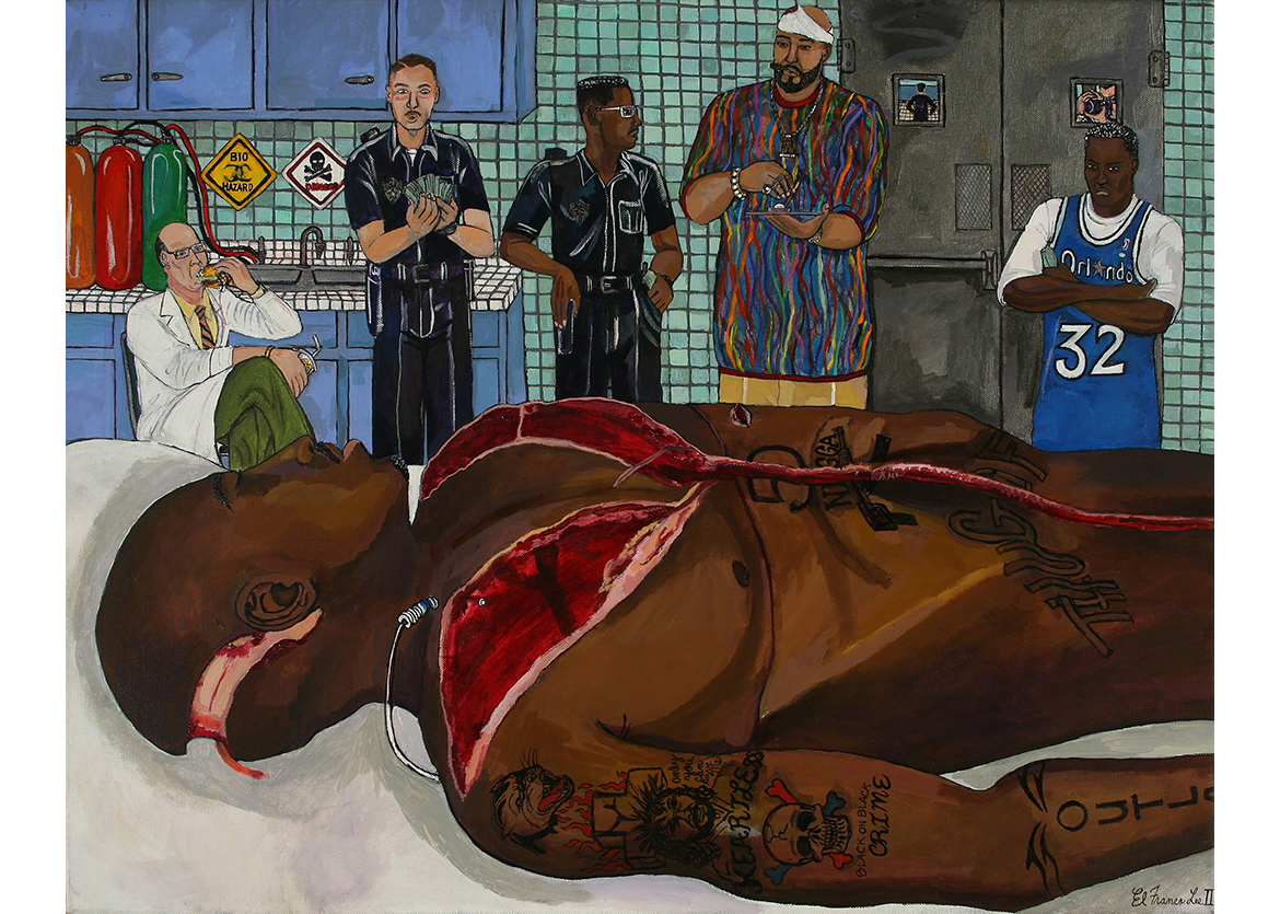 Lee, Tupac Autopsy (email), 2009, giclee reproduction on canvas, 20 x 30 in. 50.8 x 76.2 cm CNON 57.384