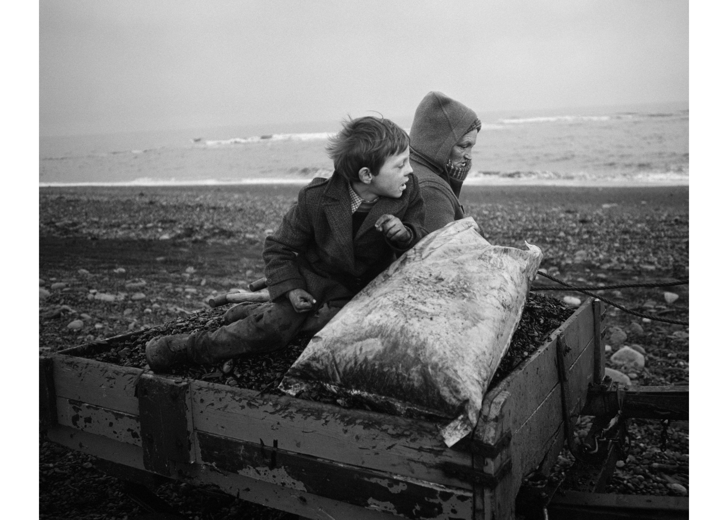 Rocker and Rosie going home, Lynemouth, Northumberland, 1984
