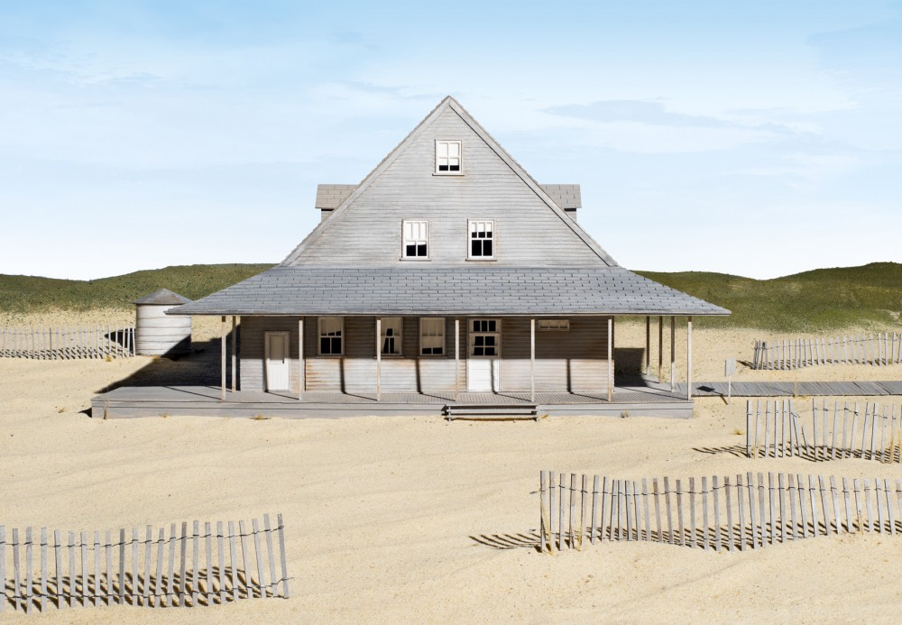 JAMES CASEBERE Caffey's Inlet Lifesaving Station (Dare County, NC), 2013 framed fine art pigment print paper: 45 7/8 x 66 3/4 inches (116.5 x 169.5 cm) framed: 48 1/2 x 69 3/8 x 2 1/4 inches (123.2 x 176.2 x 5.7 cm) edition of 5 with 2 APs  © James Casebere Courtesy: Sean Kelly, New York