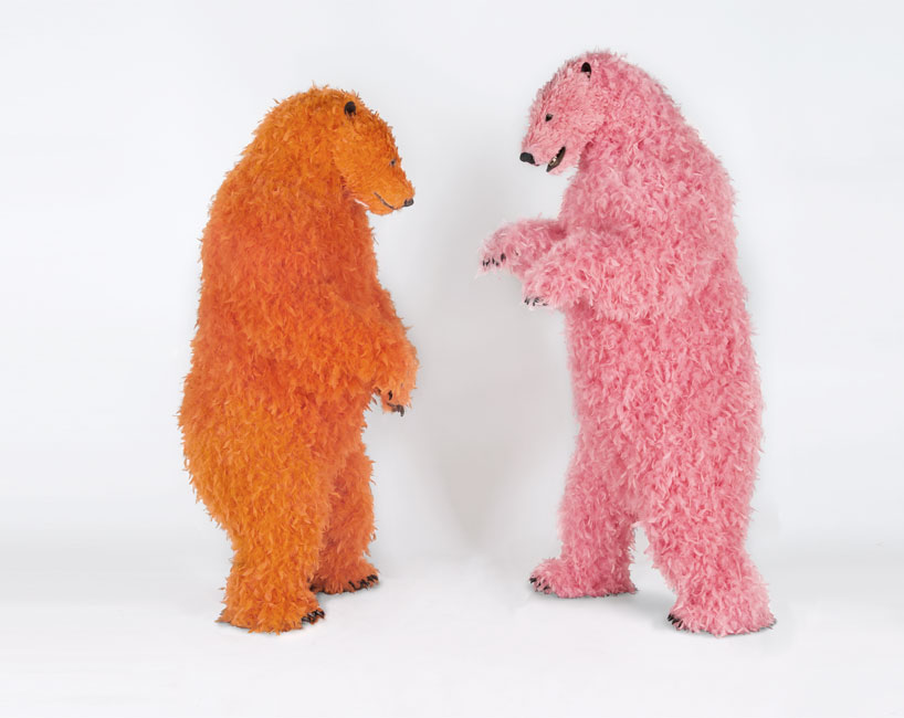 paola-pivis-colorfully-feathered-bears-inhabit-galerie-perrotin-designboom_06