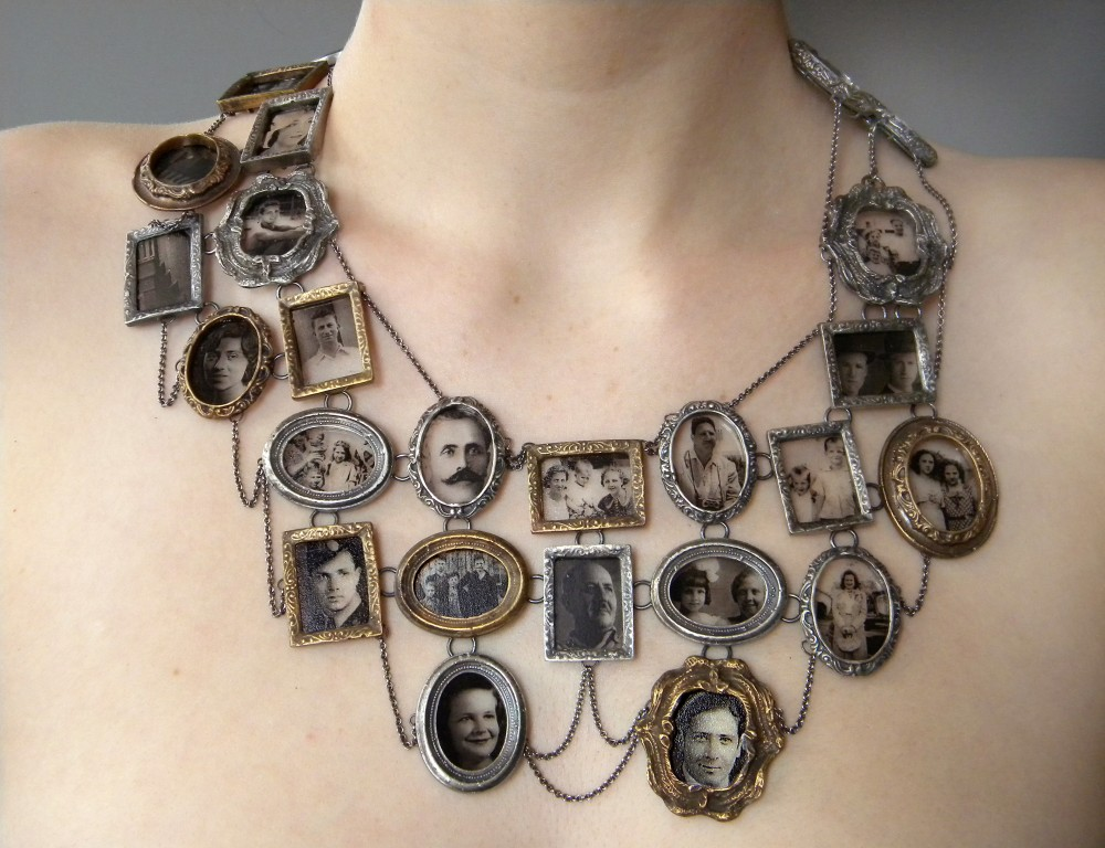 I Am Who They Were (neckpiece), 2011 Image dimensions: 3316px  x  2550px Ashley Gilreath Decal photographs, sterling silver, bronze, optical glass