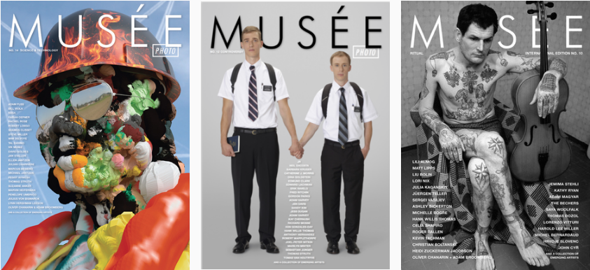 Examples of past issues of Musée magazine—showing issue covers 14, 12, and 10.