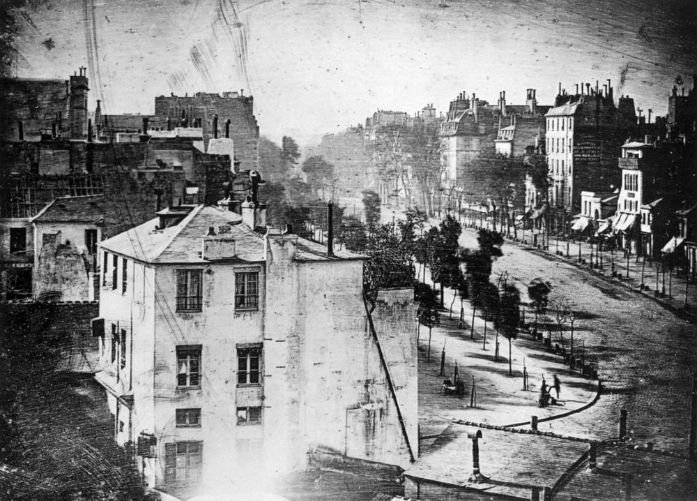 Image Above: Louis Daguerre, Boulevard du Temple, 1839. Daguerreotype. Paris.
