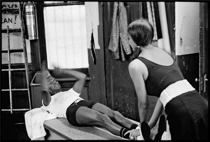 Image above: ©Glen Craig, Miles Davis and Margarita doing sit ups at Gleason's gym, NYC June 1970, 1970 / Courtesy of Morrison Hotel Gallery